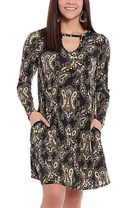 James C Women's Black & Taupe Paisley Print Dress
