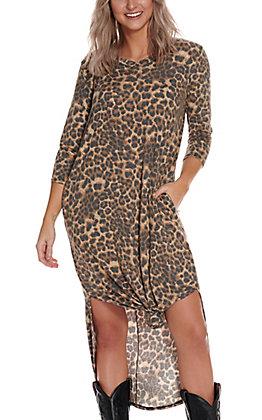 James C Women's Leopard Print Short Sleeve Maxi Knit Dress