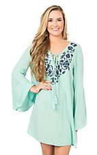 Peach Love CA Women's Mint with Navy Floral Embroidery Long Bell Sleeve Dress