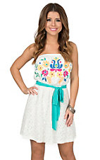 Peach Love CA Women's White Lace with Multi Colored Floral Embroidery Strapless Dress