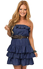 Boom Boom Jeans Women's Denim Strapless Belted Layered Dress