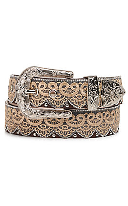 Angel Ranch Women's Brown Lace, Crystal and Stud Western Belt