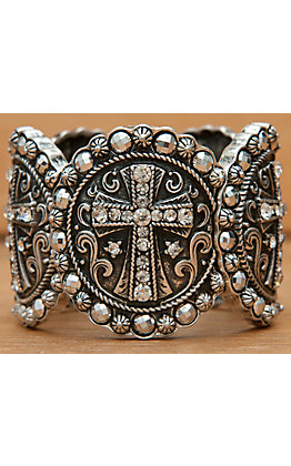 Wear N.E. Wear Silver Medallion Crosses with Clear & Silver Crystals Large Stretch Bracelet