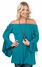 James C Women's Teal with Long Bell Sleeves Tunic Fashion Top