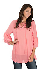 James C Women's Pink Chiffon Lace Up Detail Fashion Shirt