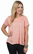 Karlie Women's Peach Textured Burnout Short Sleeve Swing Top