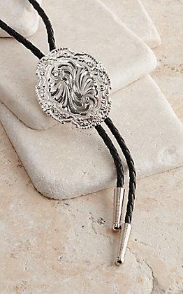 Silver Strike Silver Engraved Slide Bolo Tie