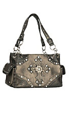 Savana Metallic with Double Cross Studded Detail Handbag