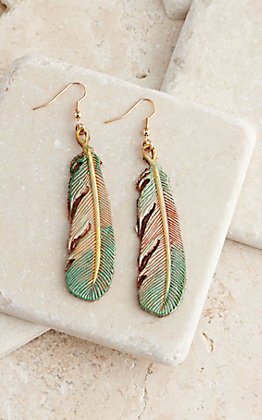 Silver Strike Two Tone Painted Leather Feather Dangle Earrings