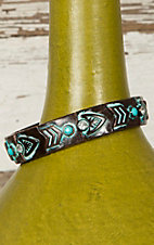 Copper & Turquoise Patina Arrow with Rhinestones Stretch Bracelet DE174