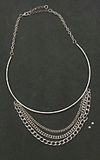 Amber's Allie Silver with Four Chain Details Necklace