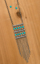 Turquoise Stone with Tassel Chains Necklace & Earrings Jewelry Set DE318TQ
