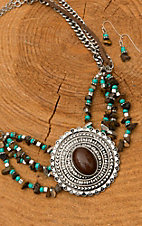 Silver Concho Turquoise & Brown Beaded Necklace & Earrings Jewelry Set  DE389