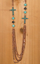 Copper with Turquoise Cross Necklace & Earring Jewelry Set DE419