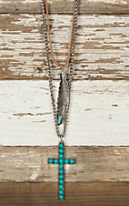 Feather & Turquoise Cross Layered Necklace & Earrings Jewelry Set DE433