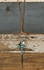Tan Suede with Turquoise Cross Pendant Jewelry Set DE452TQ