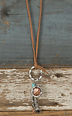 Tan Suede with Feather Charm Jewelry Set DE455