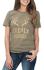 Ruby's Rubbish Women's Olive & Mustard Deerly Blessed S/S T-Shirt