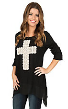 James C Women's Black with Ivory Crochet Cross 3/4 Sleeves Casual Knit Top