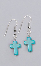 Laminin Destiny Turquoise Cross Dangle Earrings