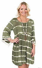 James C Women's Olive Tie Dye with Tassels on Long Bell Sleeves A Line Dress