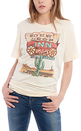 XOXO Art Co. Women's Natural Dew Drop Inn Desert Graphic T-Shirt