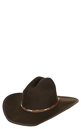 Scala by Dorfman Pacific Chocolate Wool Cowboy Fashion Hat - Small/ Medium