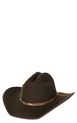 Scala by Dorfman Pacific Chocolate Wool Cowboy Fashion Hat - Large/ XL