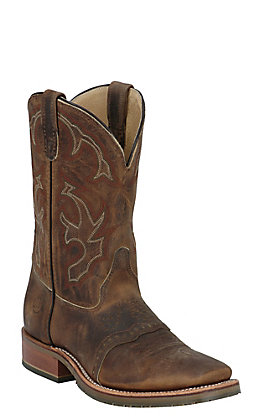 Double H Men's Distressed Brown Old Town Folklore Square Toe Western Boot