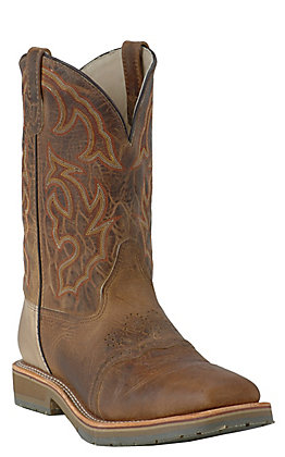 Double H Men's ICE Collection Distressed Folklore Brown Square Steel Toe Roper Work Boot