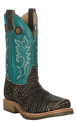 Double H Dean Men's Blue and Brown Elephant Print Wide Square Composite Toe Work Boots