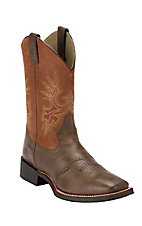 Double H Men's Brown w/ Rust Orange Top Saddle Vamp Square Toe Western Boot
