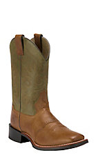 Double H Men's Cognac Tan w/ Olive Green Top Saddle Vamp Square Toe Western Boot