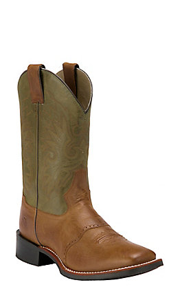Double H Men's Cognac Tan with Olive Green Top Saddle Vamp Square Toe Western Boot