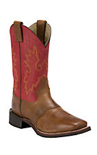 Double H Men's Brown w/ Dusty Red Top Saddle Vamp Square Toe Western Boot