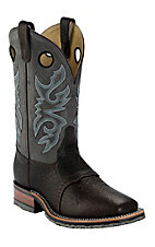 Double H Ice Collection Mens Chocolate Bison w/ Cool Grey Top Square Toe Western Boots