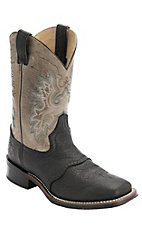 Double H Men's Black w/ Cool Grey Top Saddle Vamp Square Toe Western Boot