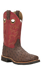 Double H Men's Brown Ostrich Print Foot with Cherry Upper Square Toe Work Boots