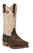 Double H Ice Collection Mens White Buckaroo Western Square Steel Toe Work Boot