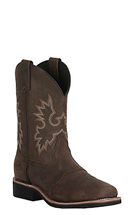 Double H Men's Brown Crazy Horse Wide Square Toe Western Boot