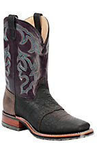 Double H Ice Collection Mens Chocolate w/ Plum Top Wide Square Toe Western Boots