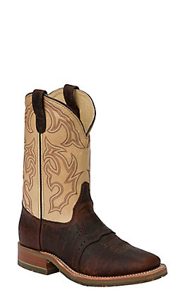 Double H Men's ICE Graham Brown Bison and Echo Taupe Square Toe Western Boots