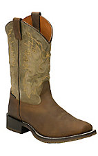 XEMDouble H ICE Collection Men's Bay Apache Brown & Green Wide Square Toe Western Boot