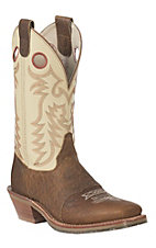 Double H Men's Folklore Mastodon Brown Saddle Vamp Square Toe Western Boots