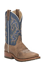 Double H Men's Alamo Arena Brown Saddle Vamp with Kingston Blue Jean Top Square Toe Western Boots