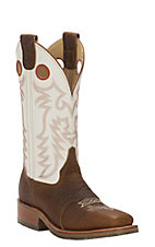 Double H Men's Tan Shrunken Bison Saddle Vamp with Ivory Top Square Toe Western Boots
