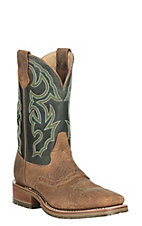 Double H Men's Chip Tan Bison w/ Frida Green Leather ICE Western Wide Square Toe Boots