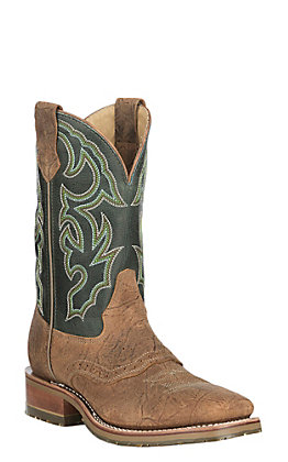 Double H Men's Chip Tan Bison with Frida Green Leather ICE Western Wide Square Toe Boots