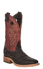 Double H Men's Brown Hilack Bison w/ Red Snapper Western Wide Square Toe Boots