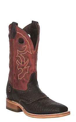 Double H Men's Brown Hilack Bison with Red Snapper Western Wide Square Toe Boots